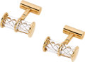 Estate Jewelry:Cufflinks, GLASS, GOLD CUFFLINKS, STEUBEN. ...