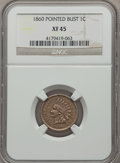Indian Cents: , 1860 1C Pointed Bust XF45 NGC. PCGS Population (24/289). ...