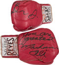 """Boxing Collectibles:Memorabilia, 1970's Muhammad Ali Training Worn Gloves Inscribed and Signed to Julius """"Dr. J"""" Erving...."""