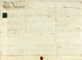 "Books:World History, Land Indenture in the Reign of George III. October 13, 1815. Signed and sealed. Vellum. Measures about 28"" x 20"". Scattered ..."
