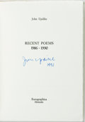 Books:Literature 1900-up, John Updike. SIGNED/LIMITED. Recent Poems 1986-1990.Helsinki: Eurographica, [1990]. First edition, limited to 350 c...