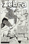 Original Comic Art:Complete Story, Pierce Rice (attributed) Pocket Comics #2 Complete 12-Page Zebra Story Original Art (Harvey, 1941).... (Total: 12 Original Art)