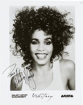 Music Memorabilia:Autographs and Signed Items, Whitney Houston Signed Black and White Photograph (c. 1980s)....