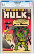 Silver Age (1956-1969):Superhero, The Incredible Hulk #6 (Marvel, 1963) CGC VF 8.0 Off-white to white pages....
