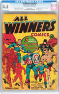 Golden Age (1938-1955):Superhero, All Winners Comics #1 (Timely, 1941) CGC VG+ 4.5 Light tan to off-white pages....