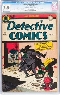 Detective Comics #91 (DC, 1944) CGC VF- 7.5 Off-white to white pages