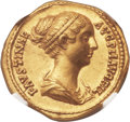 Ancients:Roman Imperial, Ancients: Faustina Junior, wife of Marcus Aurelius (Augusta, AD 149-175/6). AV aureus (20mm, 7.28 gm, 5h). ...