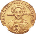 Ancients:Byzantine, Ancients: Justinian II, second reign (AD 705-711), with Tiberius. AV solidus (20mm, 4.39 gm, 6h). ...