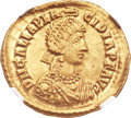 Ancients:Roman Imperial, Ancients: Galla Placidia, wife of Constantius III, mother of Valentinian III (Augusta, AD 421-450). AV solidus (21mm, 4.38 gm, 7h)....