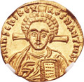 Ancients:Byzantine, Ancients: Justinian II, second reign (AD 705-711), with Tiberius. AV solidus (20mm, 4.40 gm, 6h)....