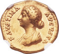 Ancients:Roman Imperial, Ancients: Faustina Junior, wife of Marcus Aurelius (Augusta, AD 147-175). AV aureus (18mm, 7.21 gm, 5h)....