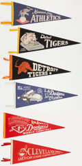Baseball Collectibles:Others, 1950's and 1960's Baseball Pennants Lot of 6....