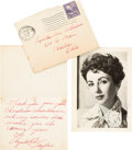 Movie/TV Memorabilia:Autographs and Signed Items, An Elizabeth Taylor Handwritten Note and Signed Black and WhitePhotograph, 1952....