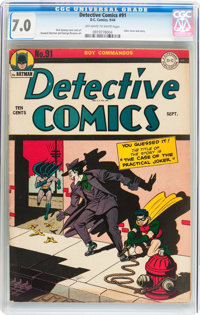 Detective Comics #91 (DC, 1944) CGC FN/VF 7.0 Off-white to white pages