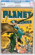 Golden Age (1938-1955):Science Fiction, Planet Comics #24 (Fiction House, 1943) CGC VF 8.0 Cream tooff-white pages....
