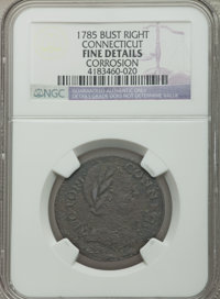 1785 COPPER Connecticut Copper, Bust Right -- Corrosion -- NGC Details. Fine. NGC Census: (4/53). PCGS Population (7/53)...