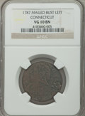 Colonials: , 1787 COPPER Connecticut Copper, Mailed Bust Left VG10 NGC. NGC Census: (6/74). PCGS Population (3/76). ...