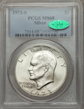 Eisenhower Dollars: , 1973-S $1 Silver MS68 PCGS. CAC. PCGS Population (837/4). NGC Census: (155/1). Mintage: 869,400. Numismedia Wsl. Price for ...