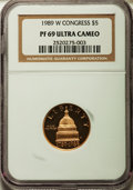 Modern Issues: , 1989-W G$5 Congress Gold Five Dollar PR69 Ultra Cameo NGC. NGC Census: (3107/2277). PCGS Population (4823/520). Mintage: 16...