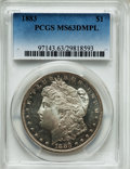 Morgan Dollars: , 1883 $1 MS63 Deep Mirror Prooflike PCGS. PCGS Population (235/344). NGC Census: (96/187). Numismedia Wsl. Price for proble...