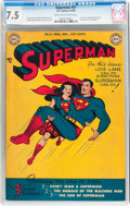 Golden Age (1938-1955):Superhero, Superman #57 (DC, 1949) CGC VF- 7.5 Cream to off-white pages....