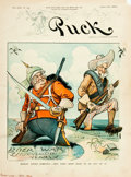 Books:Prints & Leaves, [Puck]. Louis Dalrymple. Front Cover of Puck featuring Cartoon of Boer War. Published March, 1901. Approximately...