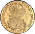 Colombia, Colombia: Charles III gold 8 Escudos 1766 NR-JV AU58 NGC,...