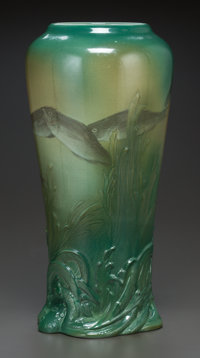 AN AMERICAN GLAZED AND MOLDED EARTHENWARE VASE, Kataro Shirayamadani for Rookwood Pottery, Cincinnati, Ohio, circa 19