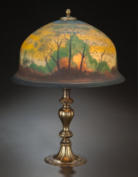 PAIRPOINT PAINTED GLASS AND BRONZED METAL LAMP, circa 1900 Marks to base: PAIRPOINT, P (inside diamond)