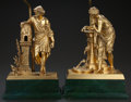 Decorative Arts, French:Lamps & Lighting, A PAIR OF FRENCH GILT METAL FIGURAL LAMPS, 20th century. Marks:Huzel, Sc-- 1869-. 27 inches high (68.6 cm) (each). ...(Total: 2 Items)