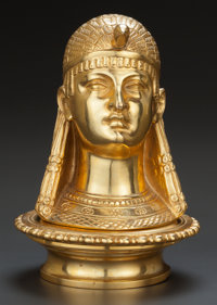 AN EGYPTIAN REVIVAL GILT BRONZE INKWELL, 20th century 7-1/4 inches high (18.4 cm)