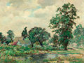 Fine Art - Painting, American:Modern  (1900 1949)  , DEDRICK B. STUBER (American, 1878-1954). Cottage in a BloomingLandscape. Oil on masonite. 12 x 16 inches (30.5 x 40.6 c...