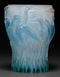 Art Glass:Daum, DAUM GLASS EGRETS VASE, late 20th century . Engraved:Daum, France, 109, Leroy. 12-1/2 inches high x 8 inche...