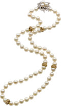 Estate Jewelry:Pearls, CULTURED PEARL, DIAMOND, WHITE GOLD NECKLACE. ...
