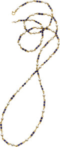 Jewelry, CULTURED PEARL, ENAMEL, GOLD NECKLACE. ...