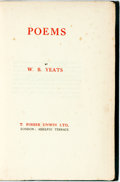 Books:Literature 1900-up, W.B. Yeats. Poems. London: T. Fisher Unwin, [n.d., ca.1922]. Sixth edition. Octavo. 314 pages. Publisher's green em...