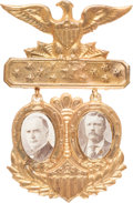 Political:Ferrotypes / Photo Badges (pre-1896), McKinley & Roosevelt: A Classic Style of Brass Shell PhotoBadge. ...