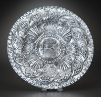 A SPANISH BAROQUE-STYLE SILVER PRESENTATION BOWL, 19th century 12-1/4 inches diameter (31.1 cm) 12.39 troy ounc