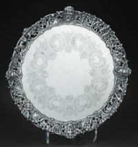 AN ENGLISH SILVER-PLATED FOOTED TRAY, Maker unidentified, circa 1890 Marks: (fleur-de-lis), (portrait in profile)