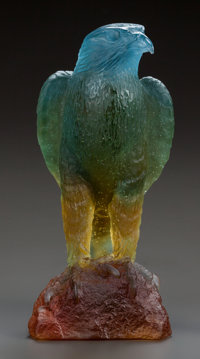 DAUM PATE-DE-VERRE GLASS EAGLE SCULPTURE, late 20th century Engraved: Daum, France, 0636/1000 8-3/4 inc