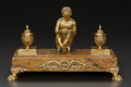 Decorative Arts, Continental:Other , A GILT BRONZE AND ONYX FIGURAL INK STAND, circa 1890. 9-1/2 x14-1/2 x 8-1/2 inches (24.1 x 36.8 x 21.6 cm). ...