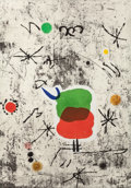 Prints:European Modern, JOAN MIRÓ (Spanish, 1893-1983). Personatge I Estels I, 1979.Etching and aquatint in colors with collage. 35-3/4 x 24-3/...