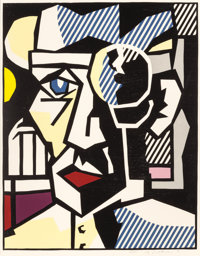 ROY LICHTENSTEIN (American, 1923-1997) Dr. Waldman, 1980 Woodcut with embossing printed in colors on
