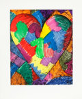 Prints, JIM DINE (American, b. 1935). A Beautiful Heart, 1996. Etching and aquatint with power-tool drypoint in colors. 23-1/2 x...
