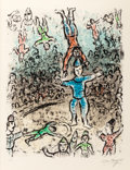 Prints, MARC CHAGALL (French/Russian, 1887-1985). The Acrobats, 1984. Lithograph in colors on Arches wove paper. 32-7/8 x 25-5/8...