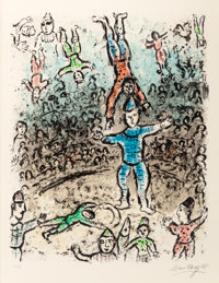 MARC CHAGALL (French/Russian, 1887-1985) The Acrobats, 1984 Lithograph in colors on Arches wove pape