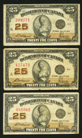 Canadian Currency: , DC-24c 25¢ 1923 Three Examples. ... (Total: 3 notes)