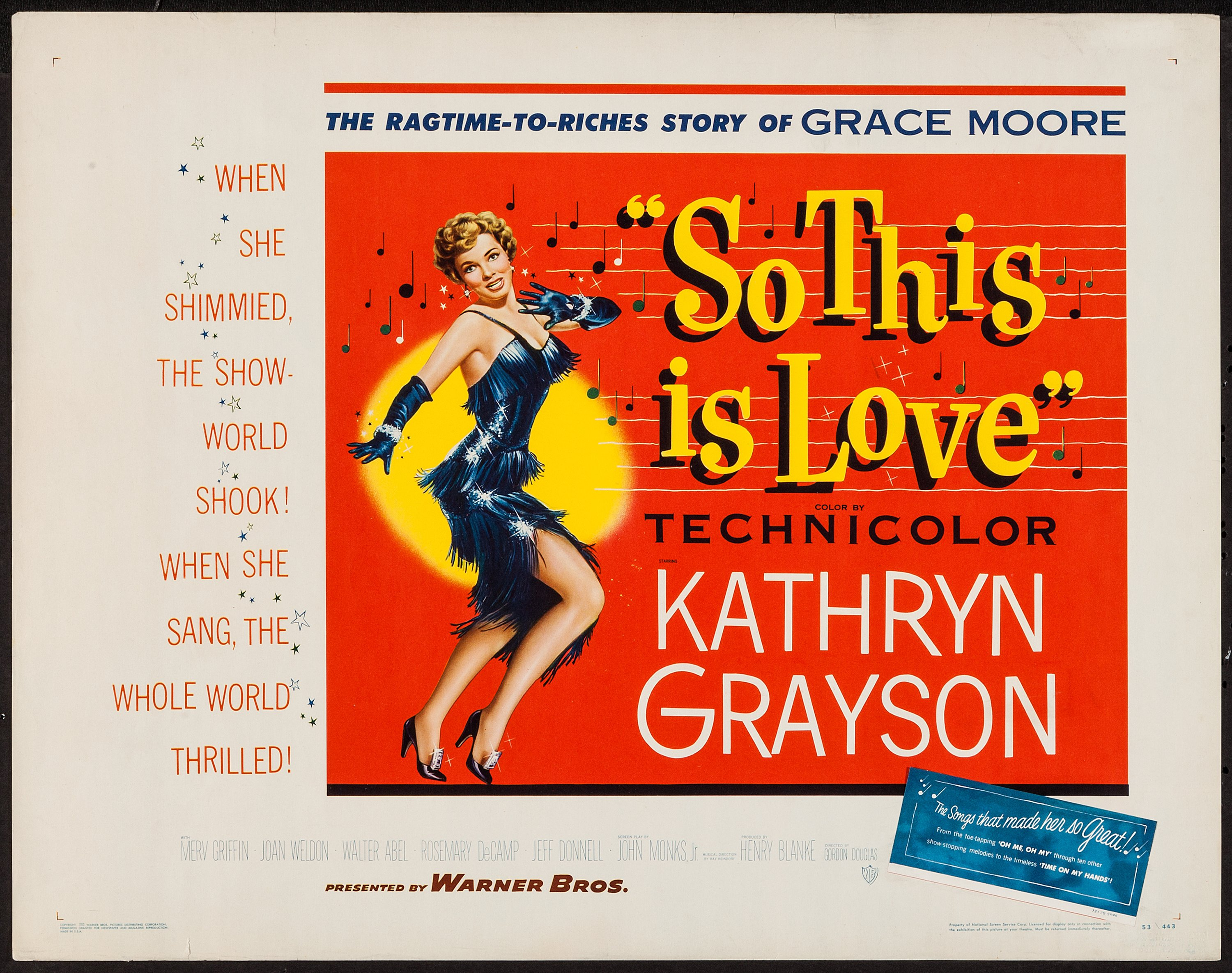 "So This Is Love (Warner Brothers, 1953). Half Sheet (22"" X 28""). 
