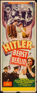 "Movie Posters:War, Hitler - Beast of Berlin (Producers Distributing Corp., 1939).Insert (14"" X 36""). War.. ..."