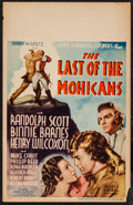 "Movie Posters:Adventure, Last of the Mohicans (United Artists, 1936). Window Card (14"" X22""). Western.. ..."